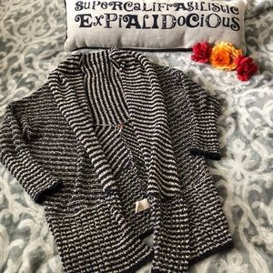 Slouchy Navy and Cream stripe Free People cardigan